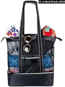 Lunch Cooler Bag Nylon Shoulder Bag - Black Backpack Nylon Mesh White Zipper Puller Shopping Mesh Beach Tote Bag