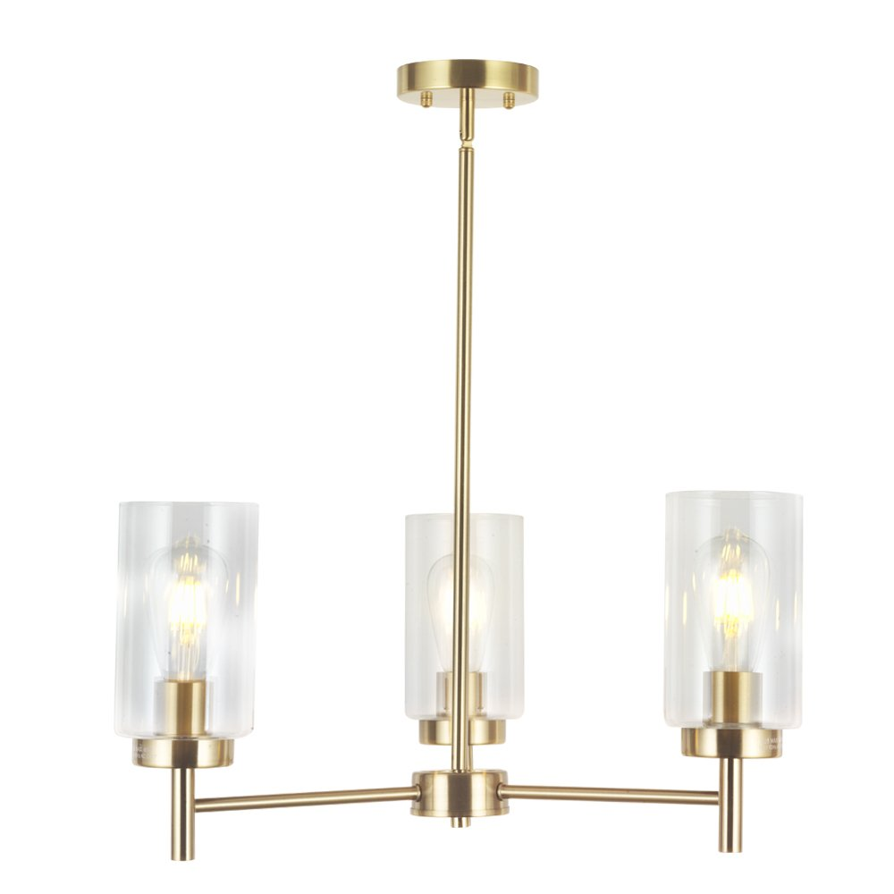 Vinluz 3 lights modern chandeliers metal light fixtures ceiling brushed brass industrial pendant lighting for dinging room living room kitchen bedroom