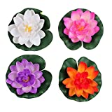 Haifly 4 Pcs Artificial Foam Lotus Water Lily Flower Artificial Floating Pond Plants Decor 28cm