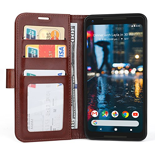 Cover Case for Google Pixel 2 XL (2017), Leather Wallet Case with Card Slots, Magnetic Closure Stand Flip Cover for Google Pixel 6.0 - Shockproof Pretective Case- Brown