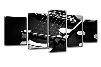 LIS HOME Imágenes modulares Salón Arte de la Pared 5 Piezas Negro Blanco Pintura de la Guitarra eléctrica Decoración para el hogar Lienzo HD Imprimir Music ...
