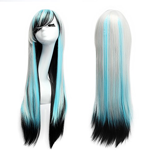 AISHN Wigs,31.5 inch(80cm) Long Straight Wig with Wig Cap for (Costumes Anime)