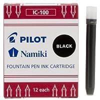 Cartucho de tinta de pluma estilográfica Namiki IC100, negro, 12 cartuchos por paquete (69100)