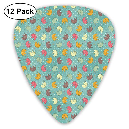 Guitar Picks - Abstract Art Colorful Designs,Lovely Elephants On Teal Backdrop Cute Animals In Drawing Style,Unique Guitar Gift,For Bass Electric & Acoustic Guitars-12 Pack]()