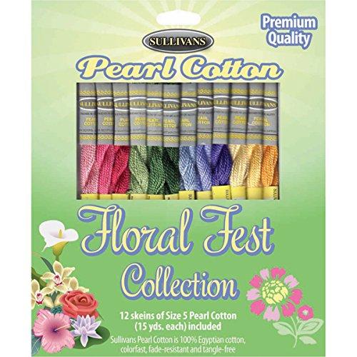Sullivans Size 5 Pearl Cotton Pack (12 Pack), 15 yd, Floral Fest (Thread Pearl 5 Cotton)