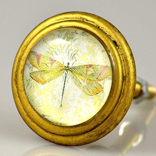 Charleston Knob Company Vintage Brass Knob, Set of 2, Dragonfly Design