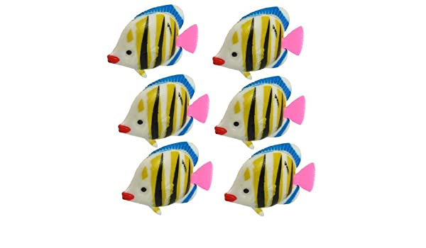 Amazon.com: eDealMax DE 6 piezas de acuario Peces Artificiales Decoración, Blanco/Negro / Amarillo: Pet Supplies