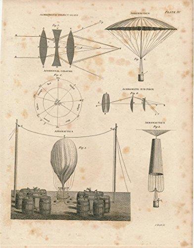 Hot-air balloons optical lenses fine 1816 vintage old print
