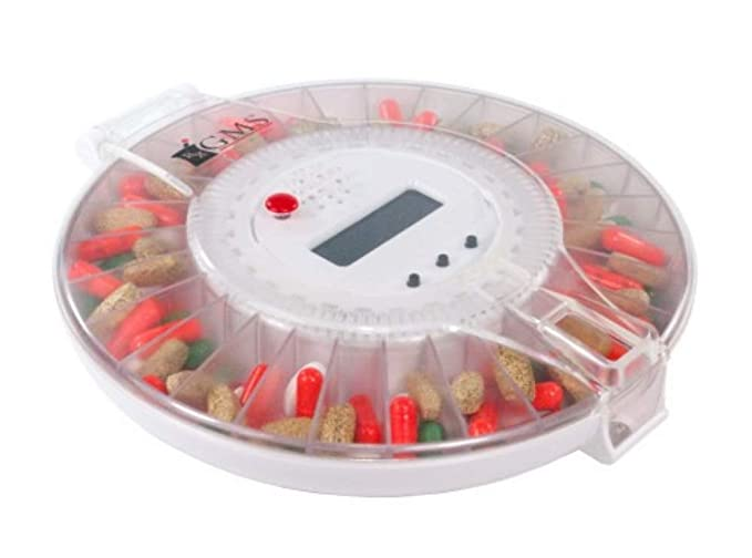 GMS Med-e-lert 28 Day Automatic Pill Dispenser 6 Alarms with 6 Dosage Rings and 1 Metal Key - Solid White Lid: Amazon.es: Salud y cuidado personal