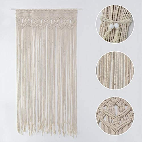 TSY Macrame Curtain Wall Hanging Curtain Panel for Doorway Window, Handmade Woven Wall Hanging Tapestry, Birthday Party Wedding Backdrop Beige, 35 x 71 inch