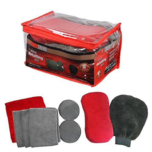 Motor Trend Auto Detailing Kit – 9pc Reusable Set of Microfiber Towels Mitts Sponges & Pads