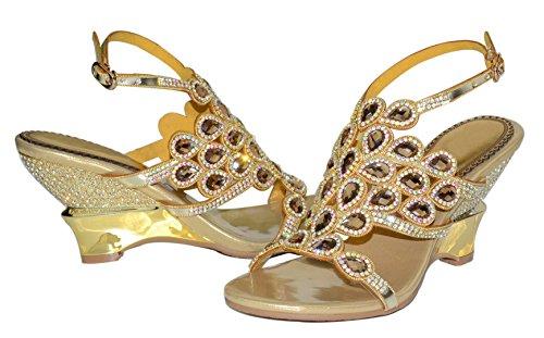 Sheepskin Seven Gold Wedge Rhinestones Women's Sandals Vibur Peacock Tail 4PXqZw