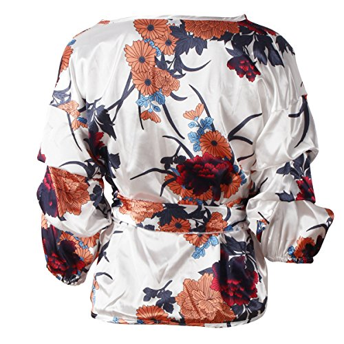 Manches Bandage Chemises Longues Satin Floral Col Femmes White Sexy V Blouse Tops xZ4Hf