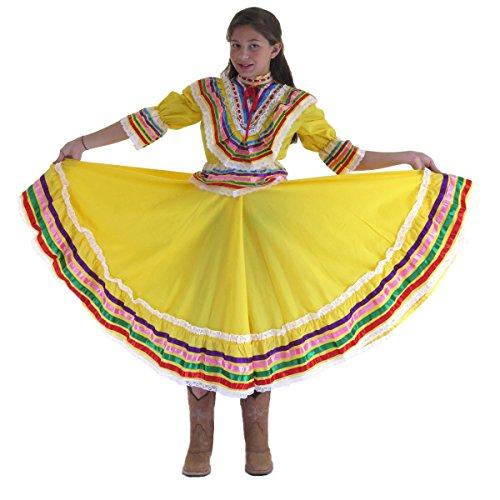 Little Girls Mexican Jalisco Dress (Blouse and Skirt) Poplin XL(6X) Yellow 2590 ()