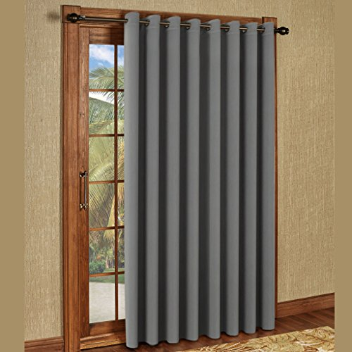 H.Versailtex Blackout Patio Grey Curtains,Extra Long and Wider Thermal Insulated Window Panels/Premium Muslin Room Divider-100″W by 108″L- Dove Grey (Set of 1)