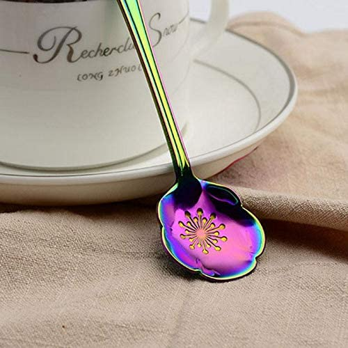 Daliuing Flower Spoon Set of 8 Stainless Steel Teaspoon Colorful Coffee Spoon Tea Spoon Mixing Spoon Sugar Spoon Black