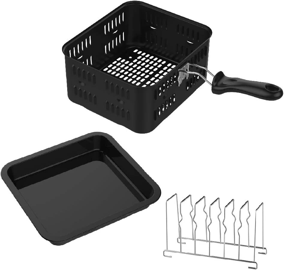GoWISE USA GWA0080 Kit 3-Piece Air Fryer Oven Accessory, Power, Yedi-Includes 6 Quart Basket, Baking Pan, Toasting Rack, 6-Qt, Universal