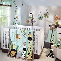 Lambs & Ivy Peek-A-Boo Jungle Unisex 5 Piece Baby Crib Bedding Set
