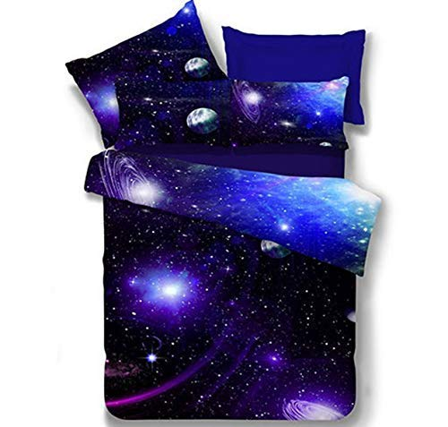 (LOUHO Galaxy Bedding Sets Interstellar Polyester Kids Bedding 4 Pieces,1 Duvet Cover,1 Flat Sheet,2 Pillowcases, No Comforter (Extra Long Twin, Blue Sky))