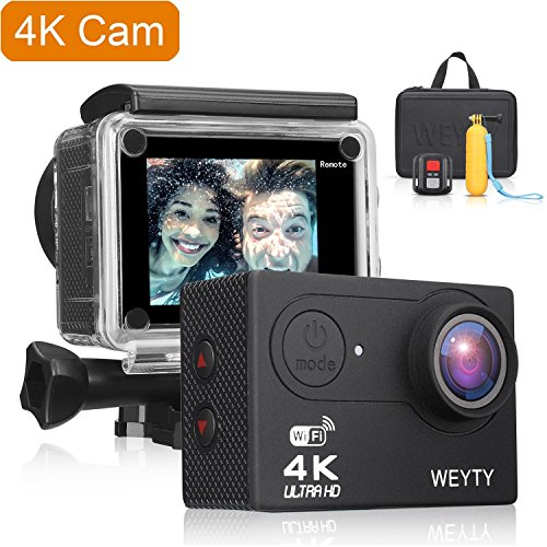 Waterproof Camera, WeyTy 8 NEX 4K Ultra HD Action Camera, 12MP Remote Control Action Video Camera, Wide-Angle Len Sports Camera with Travel Bag and Full Accessories Compatible with GoPro Camera by WeyTy