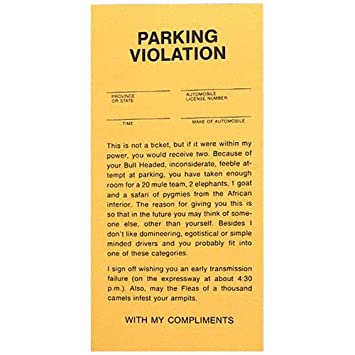photo about Printable Bad Parking Notes known as Wrong Parking Tickets - Pad of 25 by way of BWacky