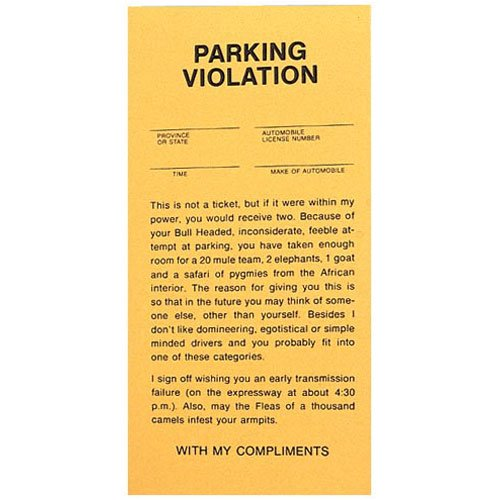 Fake Parking Tickets - Pad of 25 by - Bad Tickets Parking