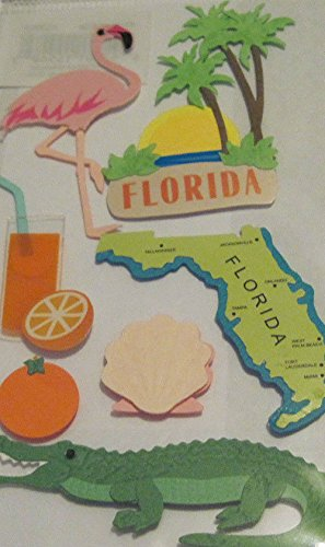 "Custom & Decorative {3"" X 1"" Inch} 7 Piece Pack of Mid-Size Stickers for Arts, Crafts & Scrapbooking w/ State Travel ""Florida"" Alligator {Green, Orange, Blue, Pink, & Yellow}"
