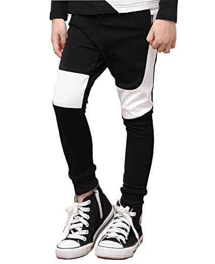 177e3bcc3cc98 NABER Boys Elastic Waistband Color Block Slim Skinny Pants 4-5 Y Black