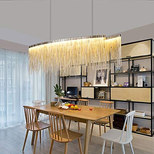 Yue Jia Modern Tassels Chandelier Linear Pendant Light Silver Color Diner Pendant Lamp LED Strip Flush Mount Lighting Contemporary Island Lighting Fixture for Dining Room Over Table L47 x W9 x H14