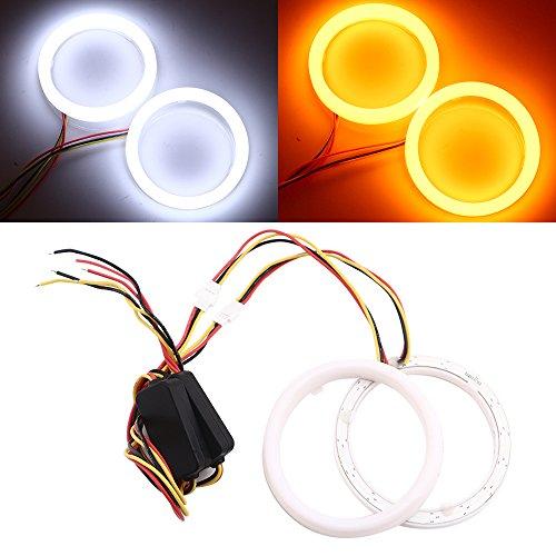 Qasim 1-Pair 80MM White+Amber Switchback 102SMD 4014 LED Halo Ring Angel Eyes Led Lights 12V