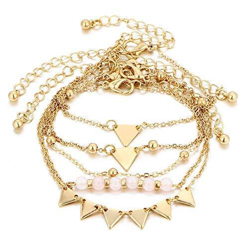 - 5Pcs New Women Simple Triangle Beads Alloy Bracelets AnkleGold Chain Jewelry Set