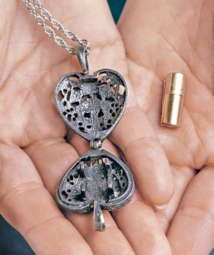 Brass Urn Enclosed In Heart Locket Necklace
