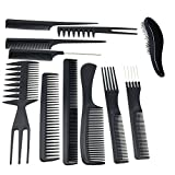 TraderPlus 11PCS Hair Stylists Professional Styling Comb Set Variety Pack for All Hair Types