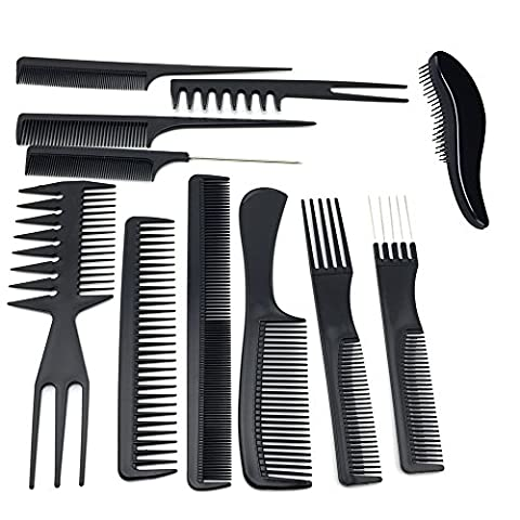 TraderPlus 11PCS Hair Stylists Professional Styling Comb Set Variety Pack for All Hair Types - Rake Detangler Comb