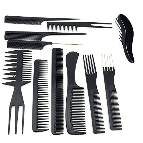 TraderPlus 11PCS Hair Stylists Professional Styling Comb Set Variety Pack for All Hair - Professional Comb Black