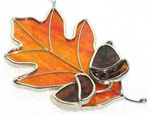 Stained Glass Oak Leaf with Acorns Suncatcher - (Amber)