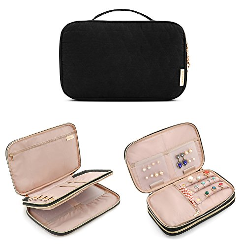 BAGSMART Double Layer Travel Jewelry Organizer Jewelry Storage Carrying Cases for Earrings, Necklaces, Rings, Black