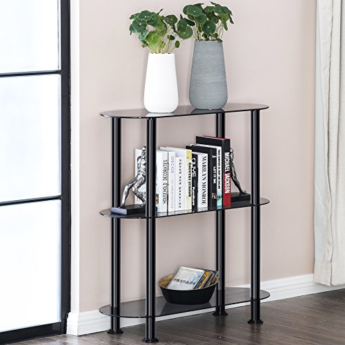 FITUEYES Grey Glass 3-Tier Compact Multipurpose Shelf Display Rack Bookcase Side Table Freestanding Organizer Shelf GT308002GB (Shelf Glass 3 Tier)