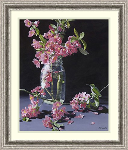 Framed Art Print 'Quince & Ruby II' by Fred Szatkowski (Rectangular Ruby Vase)