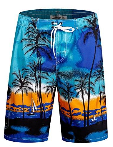 APTRO Men's Swim Trunks Beach Holiday Bathing Suits Swimwear #1701 Blue L