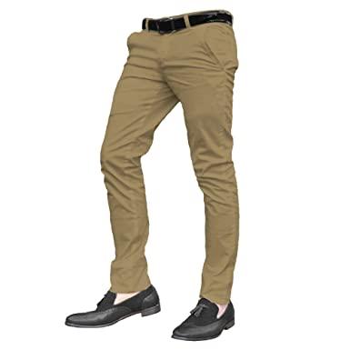 New Mens Black Designer Trousers Chinos Stretch Skinny Slim Fit Jeans Sizes UK