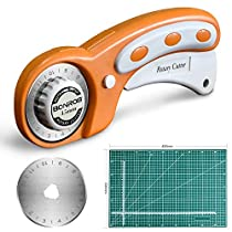 BONROB 45mm Rotary Cutter with Rotary Cutter Blades 45mm,Self Healing Cutting Mat 30 * 45CM Double Sided Professional Rotary Mat 3-Ply for Sewing Fabric Leather Quilting BO004 (45MM)