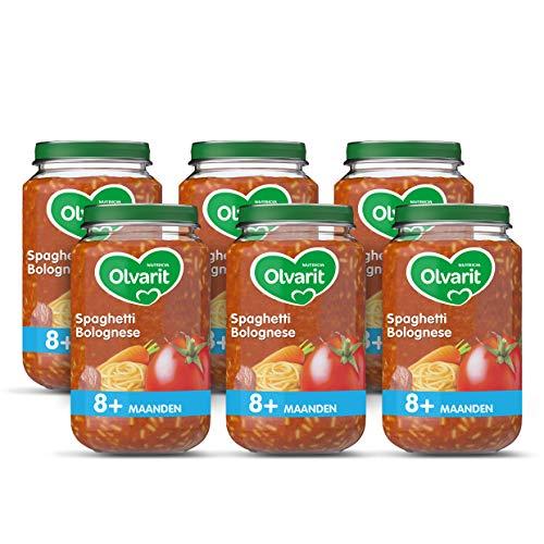 Olvarit Spaghetti Bolognese – babyhapje voor baby's vanaf 8+ maanden – 6×200 gram babyvoeding in een maaltijdpotje