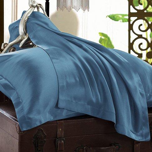 Ellesilk Dark Blue Pure Silk Sheet Sets 25 Momme Seamless