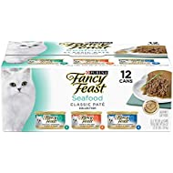 Purina Fancy Feast Seafood Classic Pate Wet Cat Food Variety Pack - (12) 3 oz. Cans