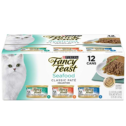 Purina Fancy Feast Seafood Classic Pate Wet Cat Food Variety Pack, 3 oz. Cans (2 Packs of 12) by Purina Fancy Feast