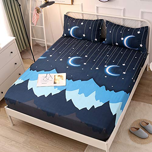 Fitted Sheet Bedsheet Without Pillowcases Used for Bedding Single Double Bed KSN Twin Full Print Fruit Animal Whale Panda for Kids Adults Teens Bedding 1PC (Star Moon, Blue, Twin 59''x79'')