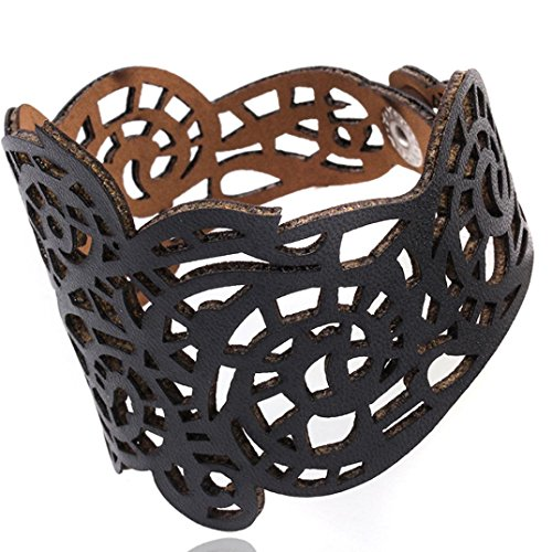Iuhan Vintage Punk Style Hollow Out Flower Wide Bangle Cuff Leather Bracelet for Women Ladies Girls (20.5cm x 5.5cm, (Yellow Heart Style Birthstone Earrings)