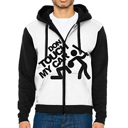Don't Touch My Car Fashionable Men's Full-Zip Hoodie Baseball Jacket (Present White Black Christmas Clipart)