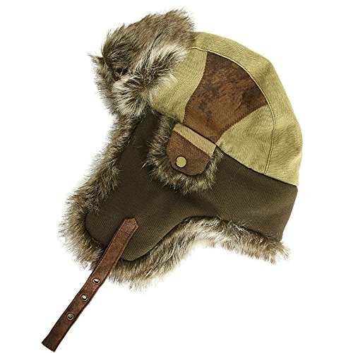 SIGGI Faux Fur Bomber Trapper Hat for Men Cotton Warm Ushanka Russian Hat (Russian Bomber Hat)